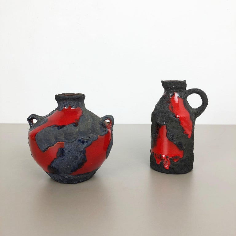 Set of 2 Original 1970 Ceramic Studio Pottery Vase by Marei Ceramics, Germany In Good Condition For Sale In Kirchlengern, DE