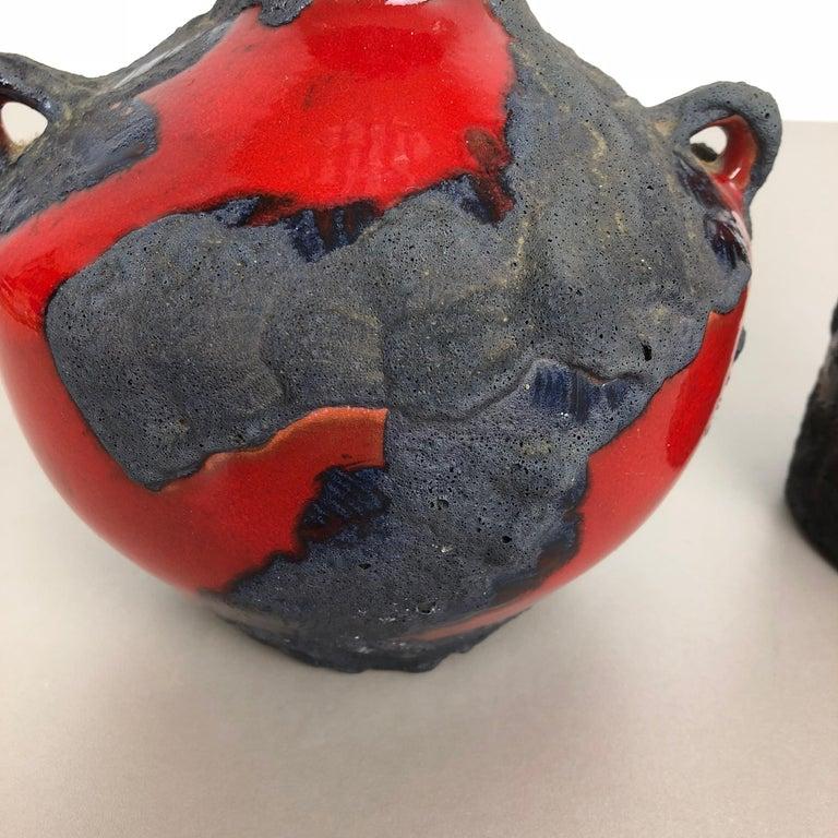 20th Century Set of 2 Original 1970 Ceramic Studio Pottery Vase by Marei Ceramics, Germany For Sale
