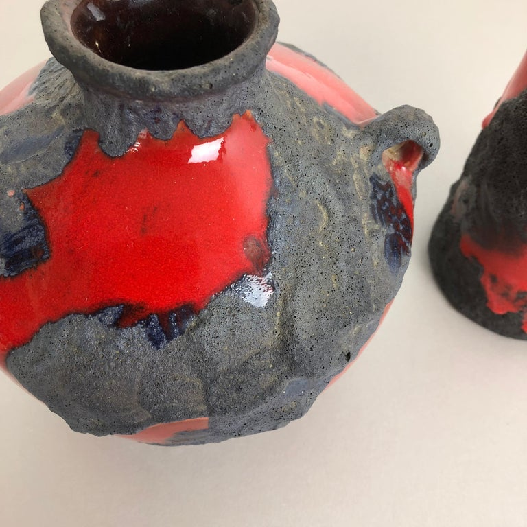 Set of 2 Original 1970 Ceramic Studio Pottery Vase by Marei Ceramics, Germany For Sale 1