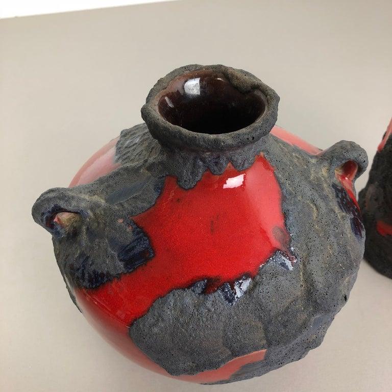 Set of 2 Original 1970 Ceramic Studio Pottery Vase by Marei Ceramics, Germany For Sale 2