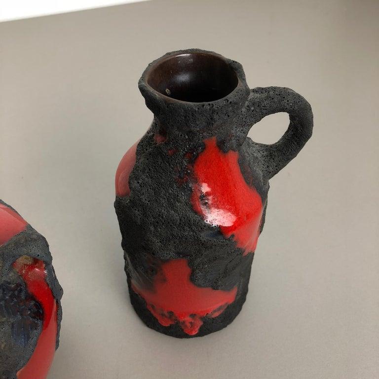 Set of 2 Original 1970 Ceramic Studio Pottery Vase by Marei Ceramics, Germany For Sale 4