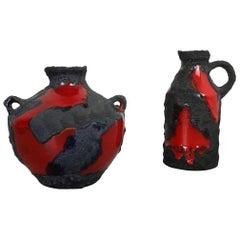 Set of 2 Original 1970 Ceramic Studio Pottery Vase by Marei Ceramics, Germany