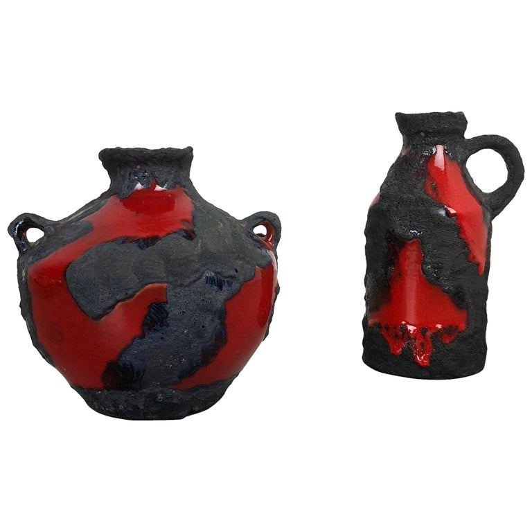 Set of 2 Original 1970 Ceramic Studio Pottery Vase by Marei Ceramics, Germany For Sale
