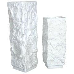 Set of 2 Original 1970s OP Art Biscuit Porcelain Vase by AK Kaiser, Germany