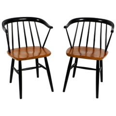 Set of 2 Original Midcentury Solid Wood Armchairs with a Teak Seat