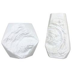 Set of 2 Original OP Art Biscuit Porcelain Vases by AK Kaiser, Germany, 1970s