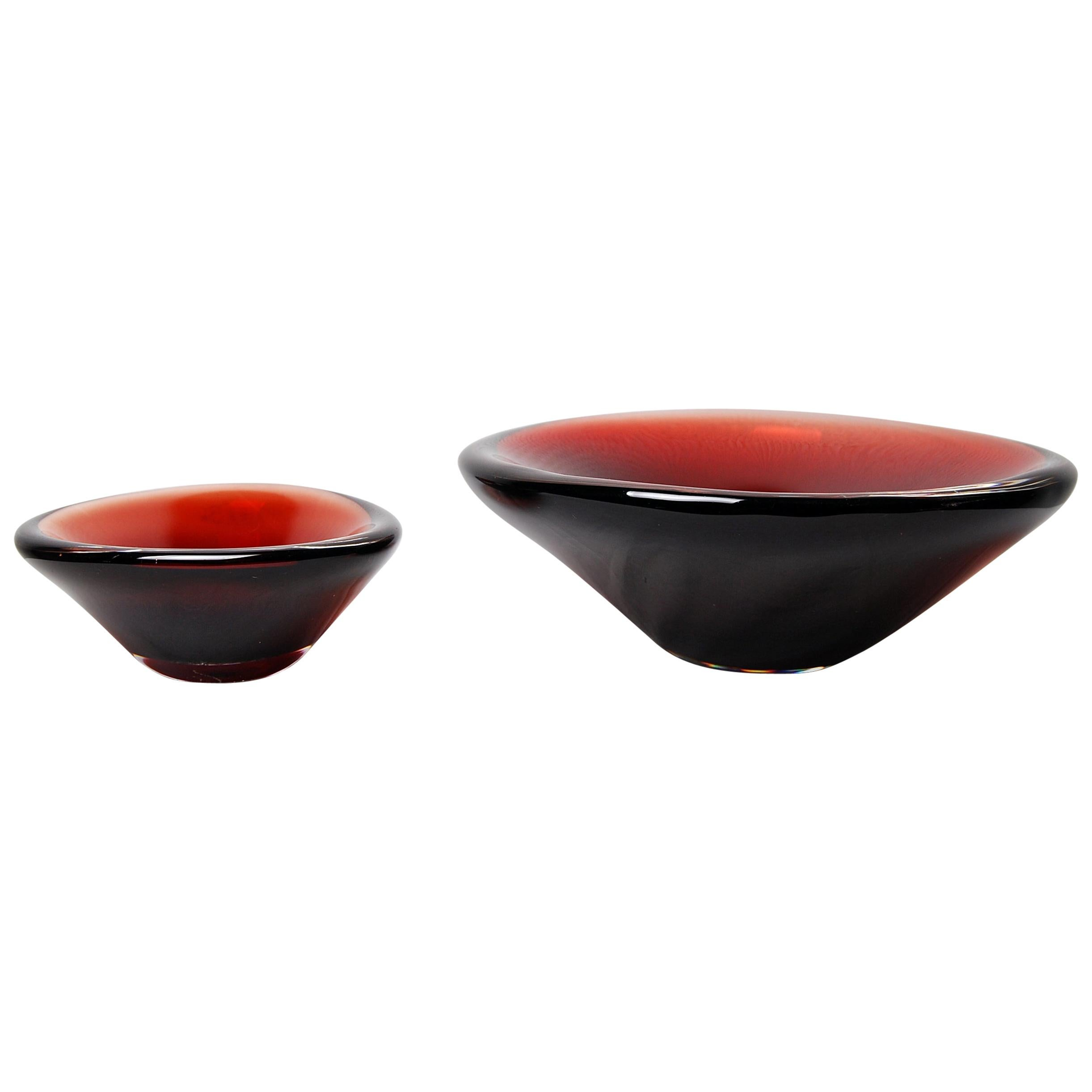 "Set of 2 Orrefors Sven Palmquist ""Selena"" Glass Bowls Scandinavian Modern"