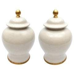 Set of '2' Paolo Marioni Italian Glazed Ceramic Jars Gold-Leaf Accents