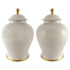 Set of (2) Paolo Marioni Large Italian Glazed Ceramic Jars Gold-Leaf Accents