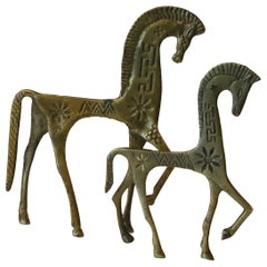 Set of 2 Patinated Etruscan Brass Horse Sculptures in Style of Pepe Mendoza