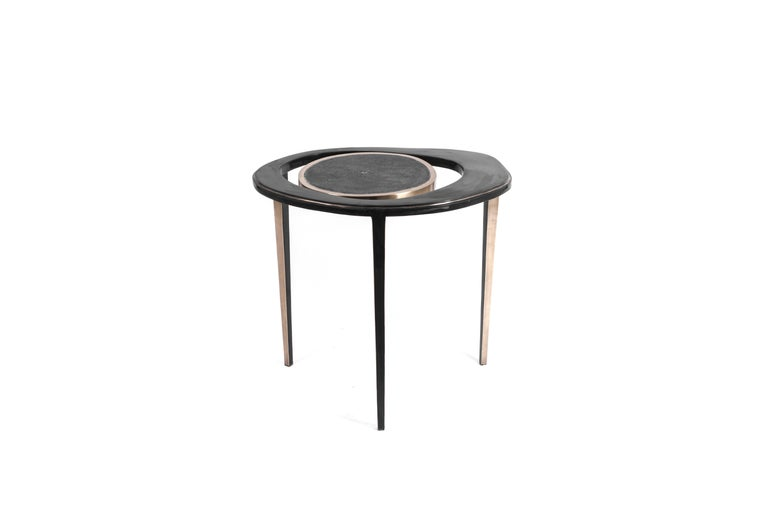 Set of 2 Peacock Nesting End Table in Black Shagreen Shell Brass by R&Y Augousti For Sale 1