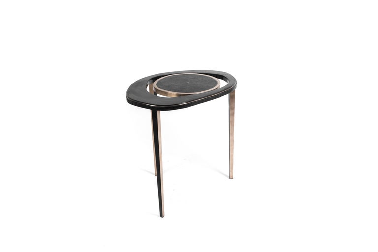 Set of 2 Peacock Nesting End Table in Black Shagreen Shell Brass by R&Y Augousti For Sale 2