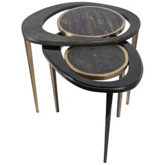 Set of 2 Peacock Nesting Tables in Shagreen Tiger Eye, and Brass by R&Y Augousti