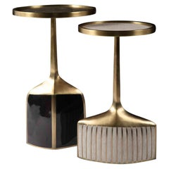 Set of 2 Pedestal Tables in Shagreen, Shell, and Brass by R&Y Augousti