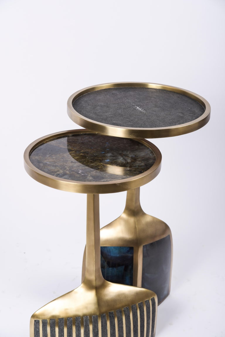 Art Deco Set of 2 Pedestal Tables in Shagreen, Shell, Lemurian and Brass by R&Y Augousti For Sale