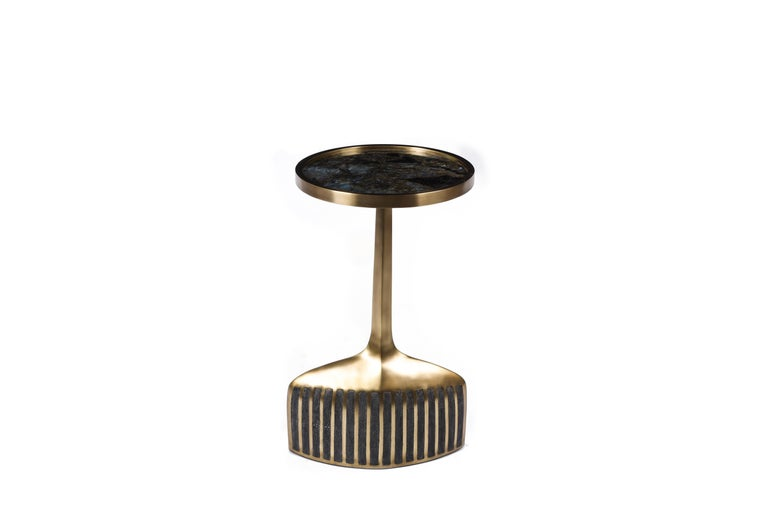 French Set of 2 Pedestal Tables in Shagreen, Shell, Lemurian and Brass by R&Y Augousti For Sale