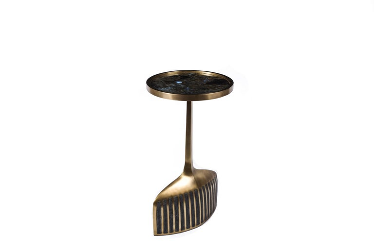 Hand-Crafted Set of 2 Pedestal Tables in Shagreen, Shell, Lemurian and Brass by R&Y Augousti For Sale