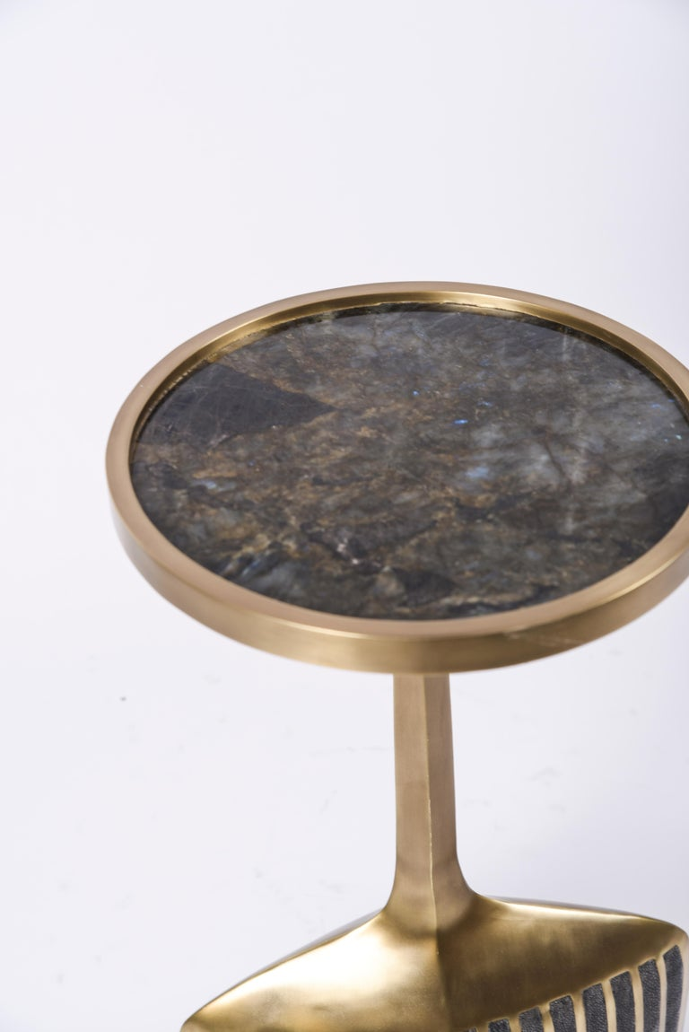Set of 2 Pedestal Tables in Shagreen, Shell, Lemurian and Brass by R&Y Augousti For Sale 1