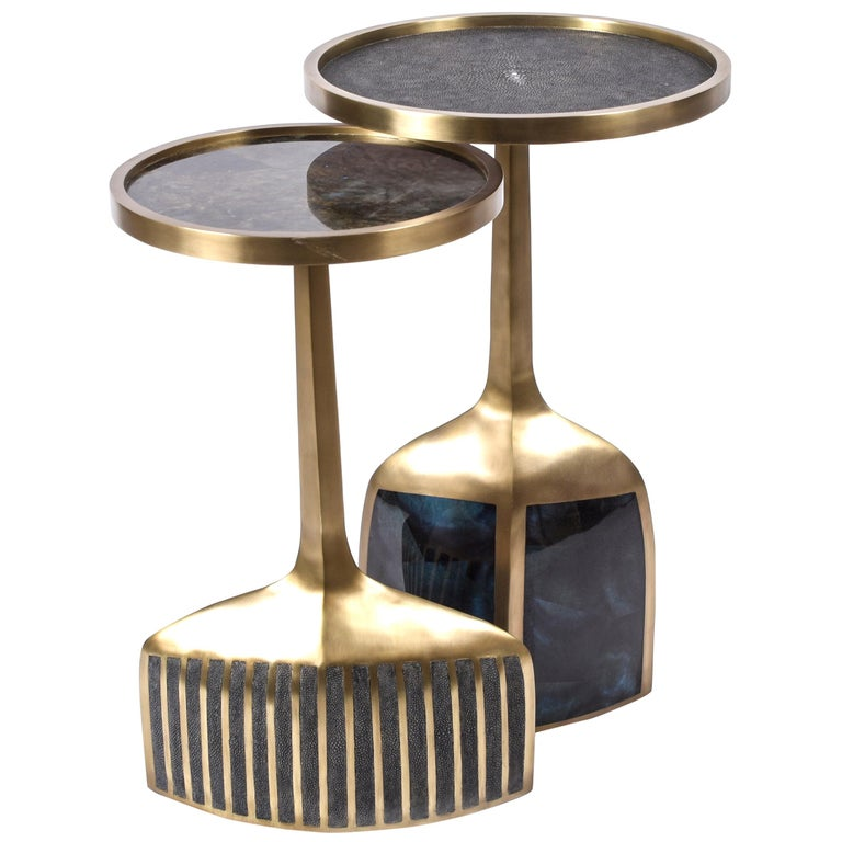 Set of 2 Pedestal Tables in Shagreen, Shell, Lemurian and Brass by R&Y Augousti For Sale