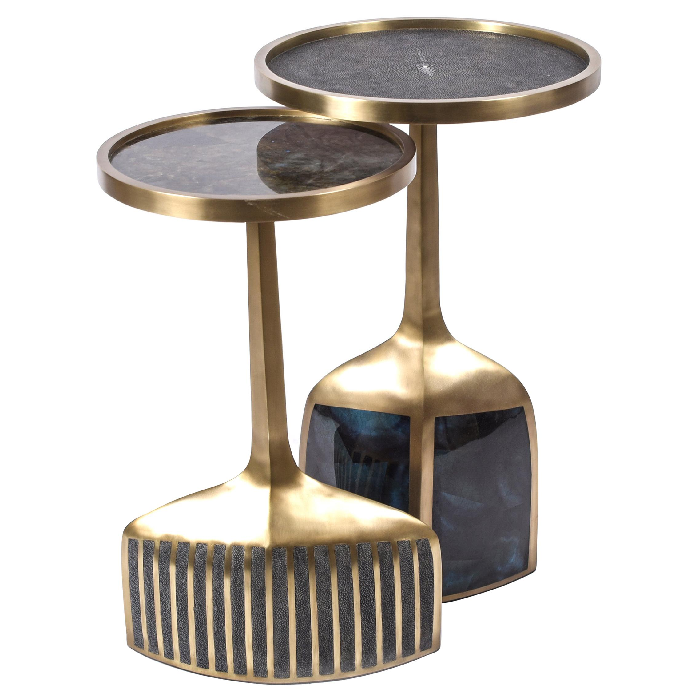 Set of 2 Pedestal Tables in Shagreen, Shell, Lemurian and Brass by R&Y Augousti