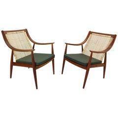 Set Of 2 Peter Hvidt& Orla Mølgaard-Nielsen FD146 Cane Back Easy Chairs, Denmark