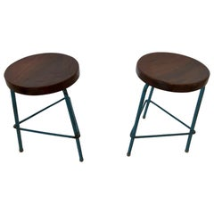 Set of 2 Pierre Jeanneret Stools, Blue, from Chandigarh, circa 1950