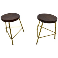 Set of 2 Pierre Jeanneret Stools, Chandigarh, circa 1950