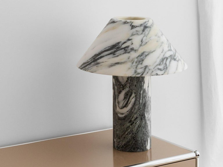Modern Set of 2 Pillar Lamp in Arabescato Marble by Henry Wilson For Sale