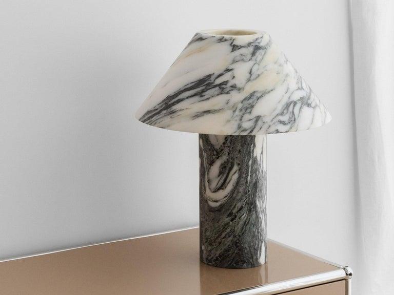 Australian Set of 2 Pillar Lamp in Arabescato Marble by Henry Wilson For Sale