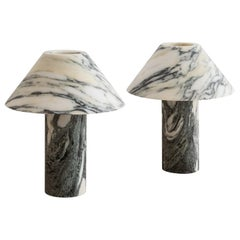 Set of 2 Pillar Lamp in Arabescato Marble by Henry Wilson