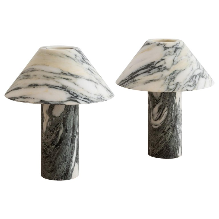 Set of 2 Pillar Lamp in Arabescato Marble by Henry Wilson For Sale