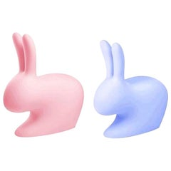 Set of 2 Pink / Blue Rabbit Chairs by Stefano Giovannoni, Made in Italy