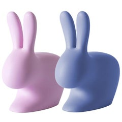 In Stock in Los Angeles, Set of 2 Pink & Blue Rabbit Chairs, Stefano Giovannoni