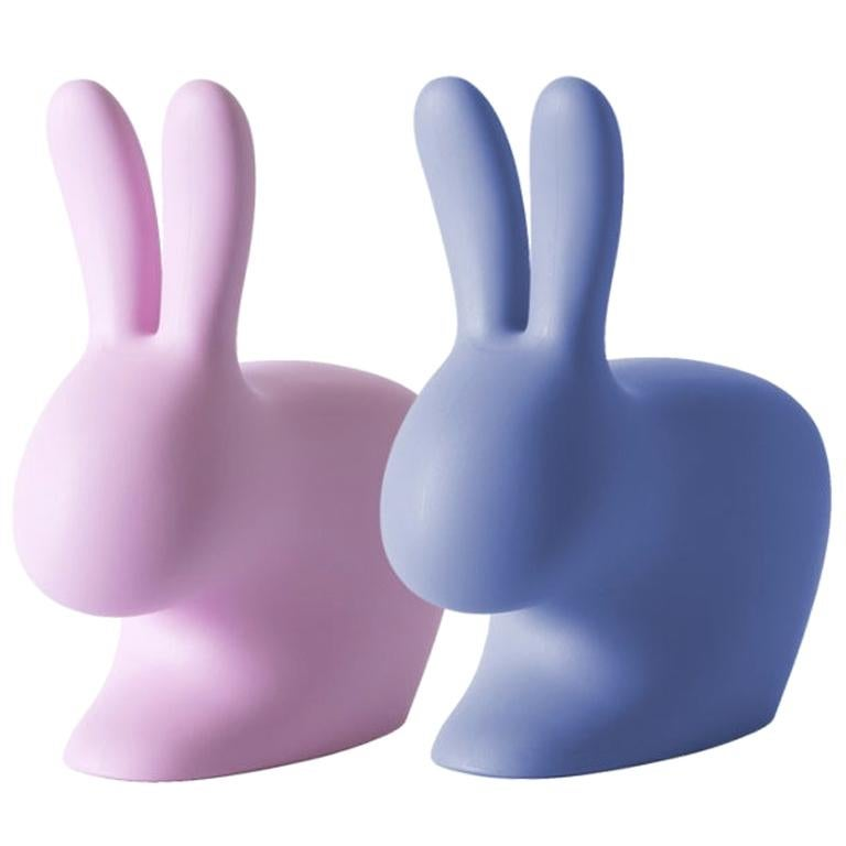 In Stock in Los Angeles, Set of 2 Pink & Blue Rabbit Chairs, Stefano Giovannoni For Sale