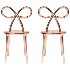 Set of 2 Pink Metallic Ribbon Chairs by Nika Zupanc, Made in Italy