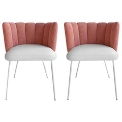 In Stock in Los Angeles, Set of 2 Pink Velvet Gaia Armchairs