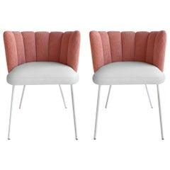 Set of 2 Pink Velvet Gaia Armchairs, In stock in Los Angeles