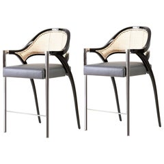 Set of 2 Polished Chrome Rattan Counter Stool Hand Lacquered