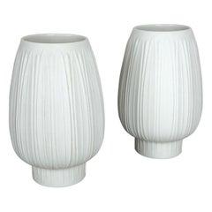 "Set of 2 Porcelain Op Art ""Artichoke"" Vase by Heinrich Selb, Germany, 1970s"