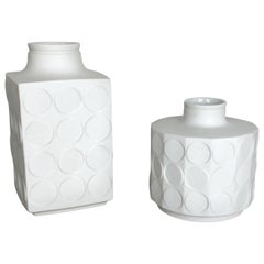 "Set of 2 Porcelain Op Art ""DOTS"" Vase by Winterling Bavaria, Germany, 1970s"