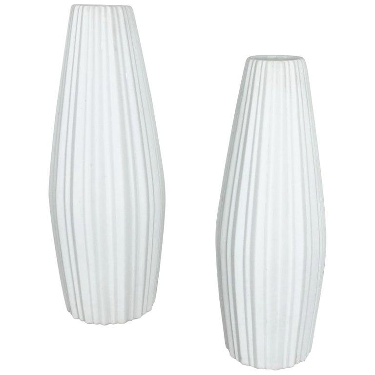 """Set of 2 Porcelain Op Art """"LINES"""" Vase by Heinrich Selb, Germany, 1970s For Sale"""