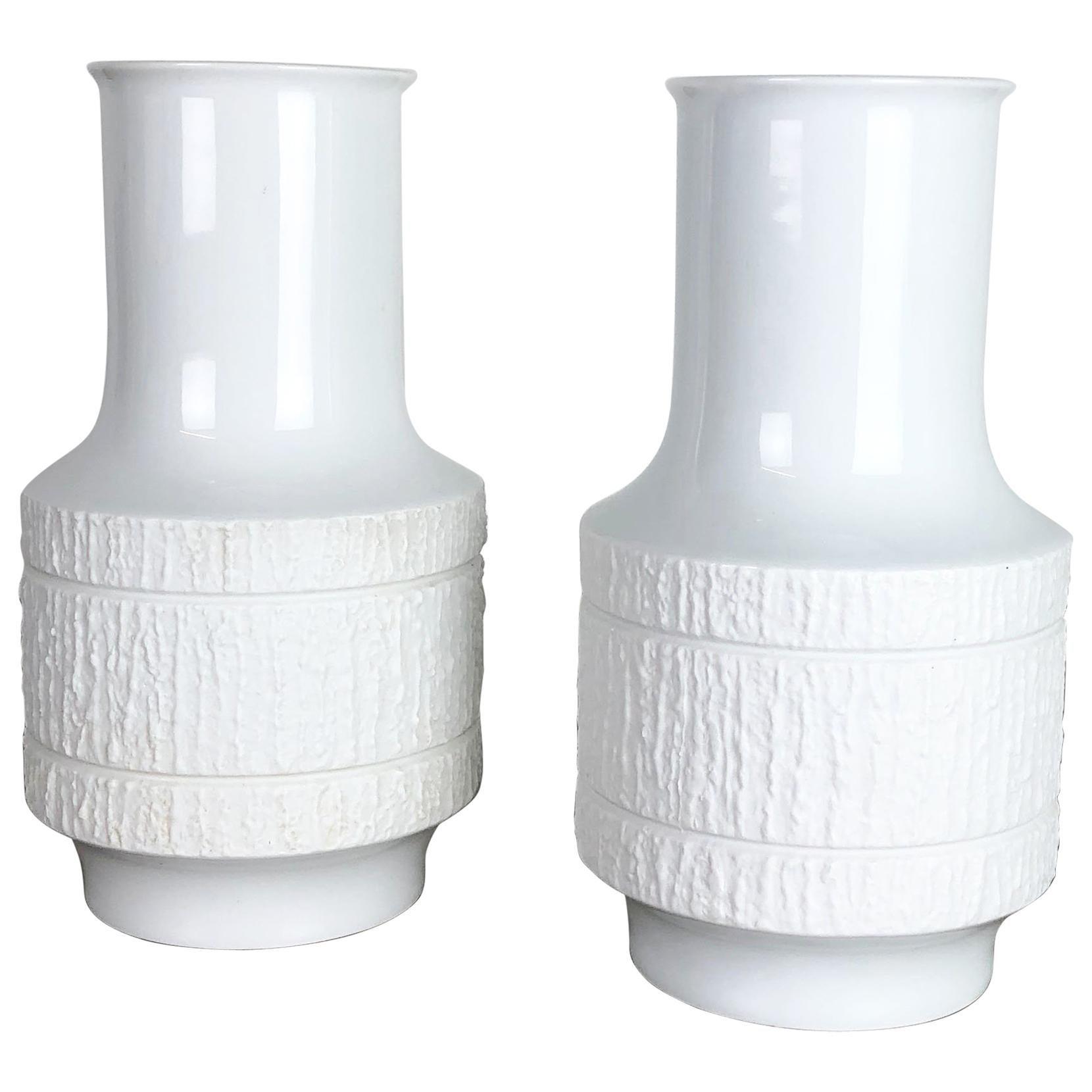 Set of 2 Porcelain Op Art Vase by Richard Scharrer for Thomas, Germany, 1970s