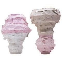 Set of 2 Porcelain Vases Handsculpted by Monika Patuszyńska