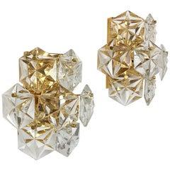 Set of 2 Prismatic Crystal Glass Gold Wall Light Sconces by Kinkeldey, Germany