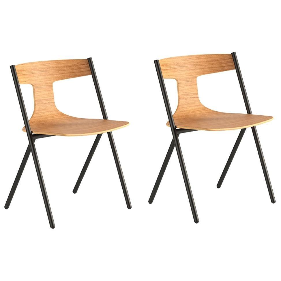 Viccarbe Set of 2 Quadra  Chair, Matt Oak, Stackable by Mario Ferrarini