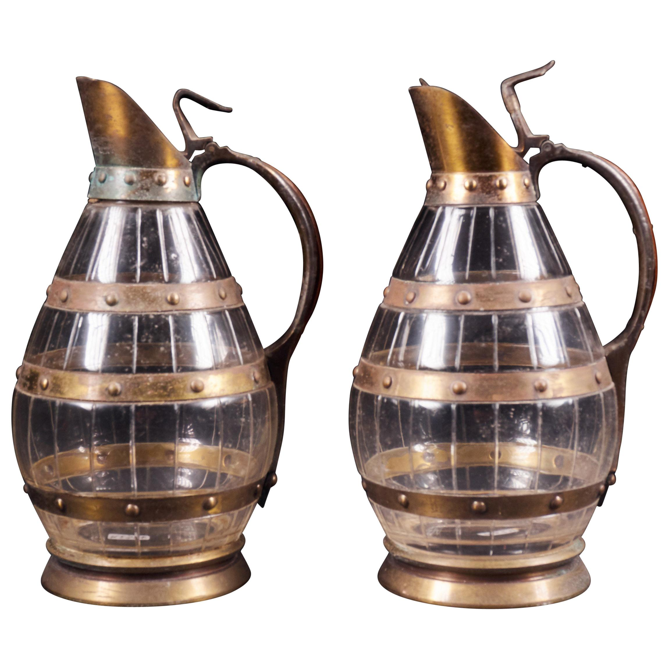 Set of 2 Rare Copper Alloy and Glass Carafes