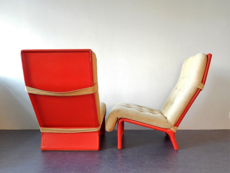 Mid-Century Modern Set of 2 Rare Lounge Chairs for Cado, Denmark, 1960s For Sale