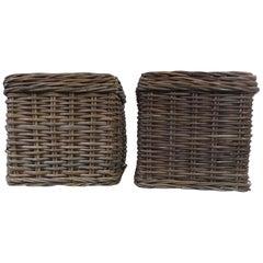 Set of 2 Rattan Planter Baskets
