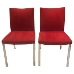 Set of 2 Red Alcantera Dining Chairs with Recline Function Polished Chrome Legs