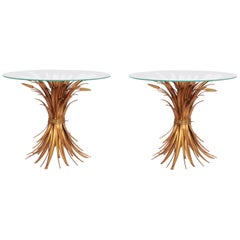 Set of 2 Regency Gilt Palm Tree and Wheat Coffee Table by Hans Kögl, 1970s